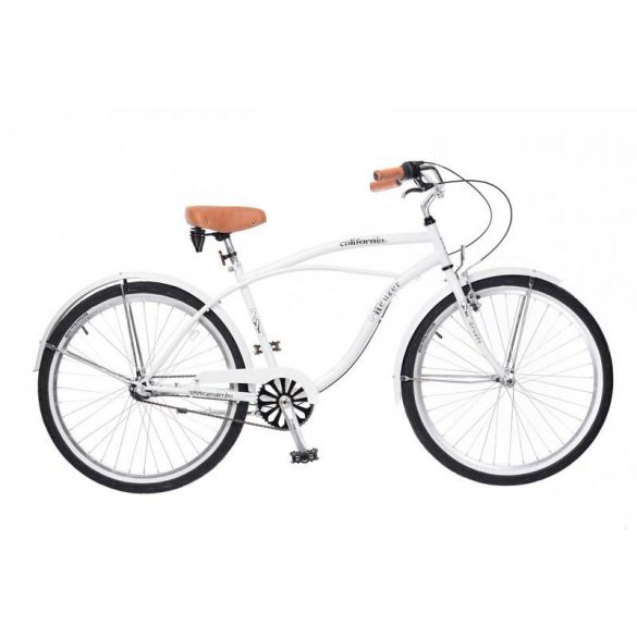 California férfi fehér Cruiser kerékpár