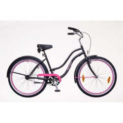 Neuzer Sunset női matt fekete/magenta Cruiser kerékpár